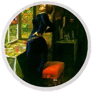 Mariana In The Moated Grange 1851 Round Beach Towel