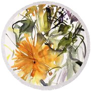 Marigold And Other Flowers Round Beach Towel