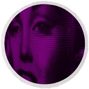 Marilyn And Mona Purple Round Beach Towel