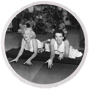Marilyn Monroe And Jane Russell Round Beach Towel