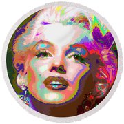 Marilyn Monroe 01 - Abstarct Round Beach Towel