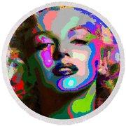 Marilyn Monroe - Abstract 1 Round Beach Towel