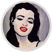 Marilyn Monroe Aka Norma Jean Artistic Impression Round Beach Towel