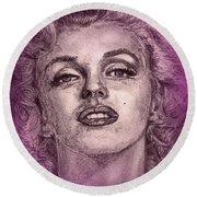 Marilyn Monroe In Pink Round Beach Towel