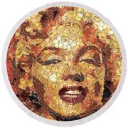 Marilyn Monroe On The Way Of Arcimboldo Round Beach Towel