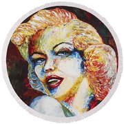 Marilyn Monroe Original Palette Knife Painting Round Beach Towel