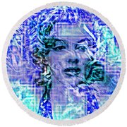 Marilyn Monroe Out Of The Blue Round Beach Towel