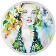 Marilyn Monroe Portrait.1 Round Beach Towel