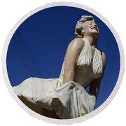 Marilyn Monroe Statue 3 Round Beach Towel