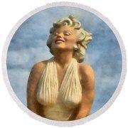 Marilyn Monroe Watercolor Round Beach Towel