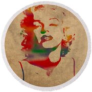 Marilyn Monroe Watercolor Portrait On Worn Distressed Canvas Round Beach Towel