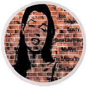 Marilyn On Brick Round Beach Towel