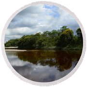 Marimbus River Brazil Reflections 4 Round Beach Towel