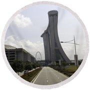 Marina Bay Sands And Singapore Flyer As Seen From A Distance Round Beach Towel