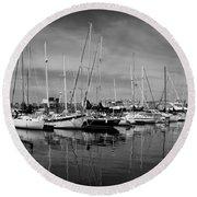 Marina Boats In Victoria British Columbia Black And White Round Beach Towel
