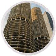 Marina City Chicago Round Beach Towel