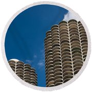 Marina City Morning Round Beach Towel