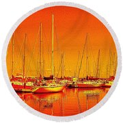 Marina Reflections Round Beach Towel