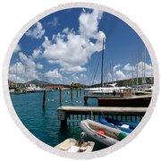 Marina St Thomas Virgin Islands Round Beach Towel