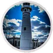 Marine City Michigan Lighthouse Round Beach Towel