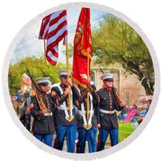 Marine Color Guard - Paint Round Beach Towel