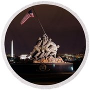 Marine Corps War Memorial Round Beach Towel