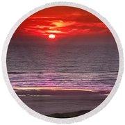 Marine Sunset Round Beach Towel