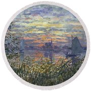 Marine View With A Sunset Round Beach Towel