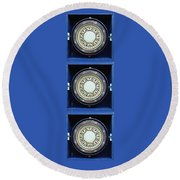 Mariners Compass Blue Round Beach Towel