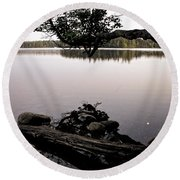 Marion Lake And The Moon Round Beach Towel