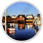 Maritme Shadows And Reflections Round Beach Towel