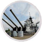 Mark 7 16-inch Gun Barrels On Deck Round Beach Towel