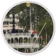 Mark Twain Riverboat Frontierland Disneyland Vertical Round Beach Towel