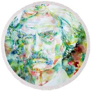 Mark Twain - Watercolor Portrait Round Beach Towel by Fabrizio Cassetta