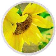 Mark Twain's Sunflowers Round Beach Towel