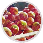 Market Apples Round Beach Towel