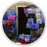 Market At Santiago Atitlan Guatemala Round Beach Towel