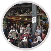 Market Buskers 3 Round Beach Towel