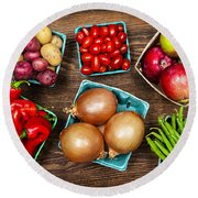 Market Fruits And Vegetables Round Beach Towel