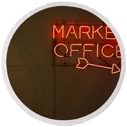 Market Office To The Right Round Beach Towel