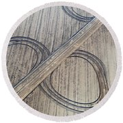 Marks On The Ground Aerial Photography Round Beach Towel