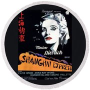 Marlene Dietrich Art Deco French Poster Shanghai Express 1932-2012 Round Beach Towel