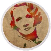 Marlene Dietrich Movie Star Watercolor Painting On Worn Canvas Round Beach Towel