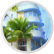 Marlin Hotel Side View Round Beach Towel