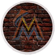 Marlins Baseball Graffiti On Brick  Round Beach Towel by Movie Poster Prints