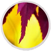 Maroon And Yellow Round Beach Towel