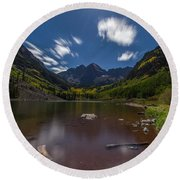 Maroon Bells At Night Round Beach Towel