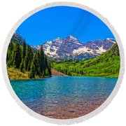 Maroon Bells In Color Round Beach Towel