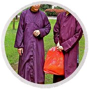 Maroon-robed Monks At Buddhist University In Chiang Mai-thailand Round Beach Towel