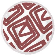 Marsala Envelopes- Abstract Pattern Round Beach Towel